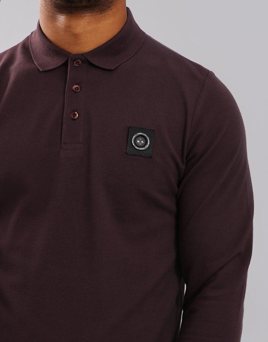 Marshall Artist Siren Long Sleeve Polo Shirt Burgundy