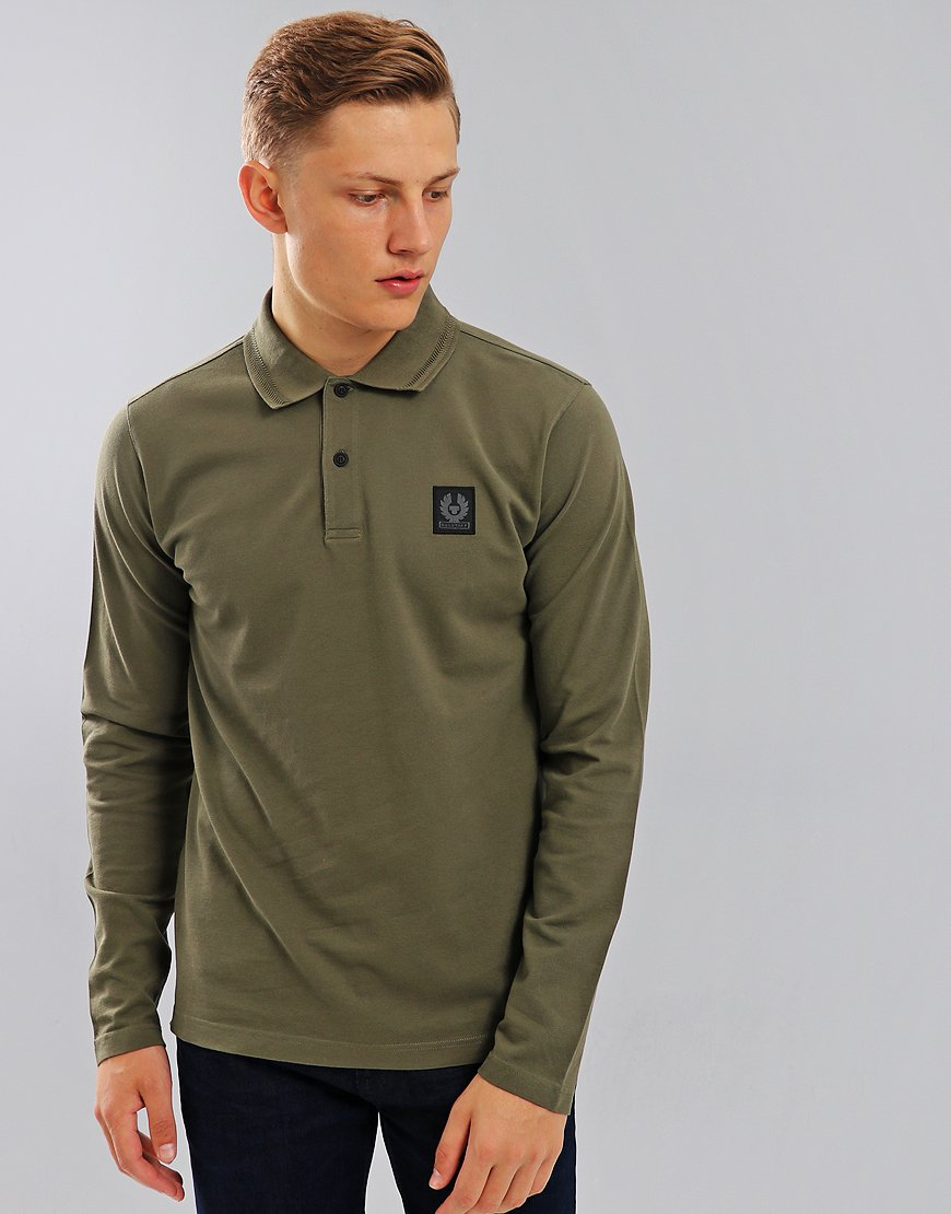 Belstaff Selbourne Long Sleeve Polo Shirt Humid Green