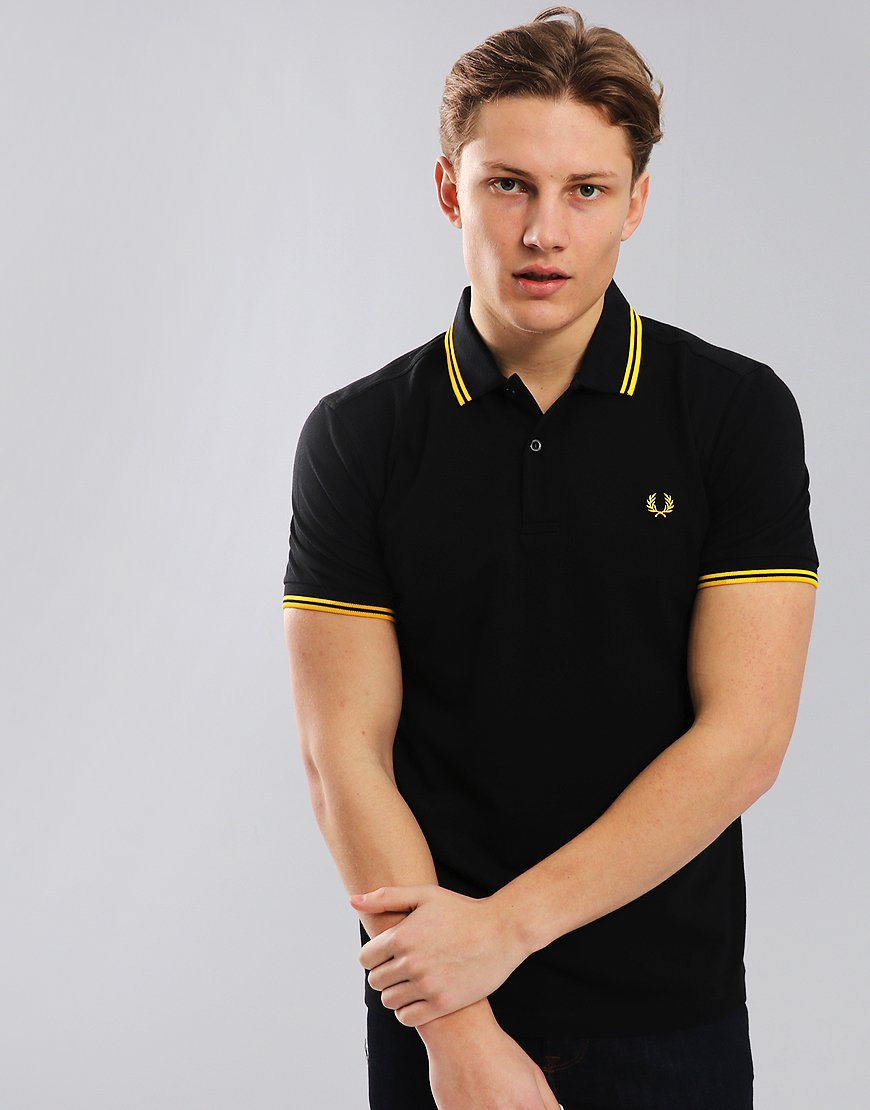 df2946e46e2a Fred Perry Twin Tipped Polo Shirt Black New Yellow - Terraces Menswear