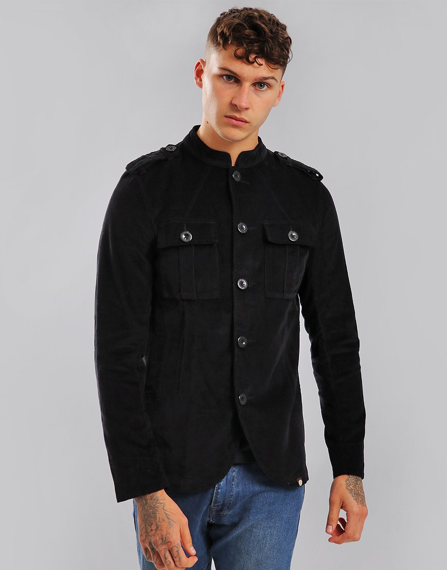 Pretty Green Crawley Military Corduroy Jacket Black