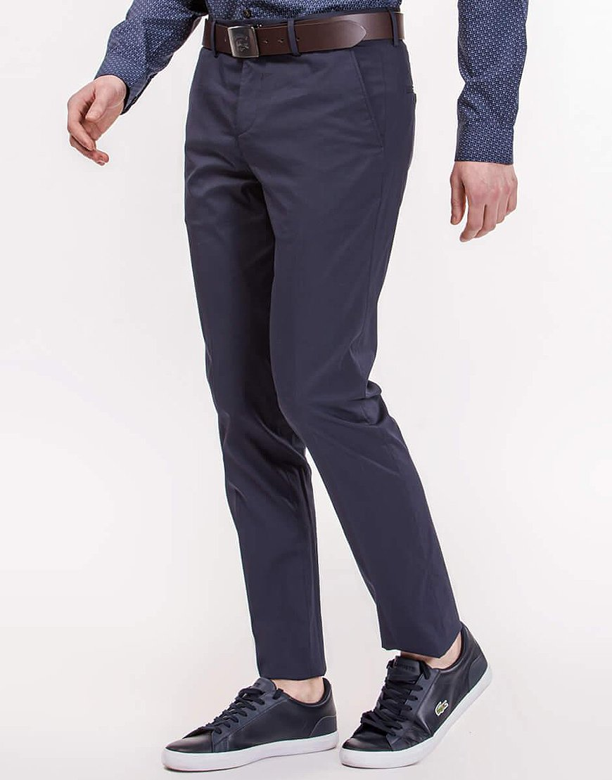 Lacoste Motion Regular Fit Poplin Pleated Chino Pants in Dark Navy