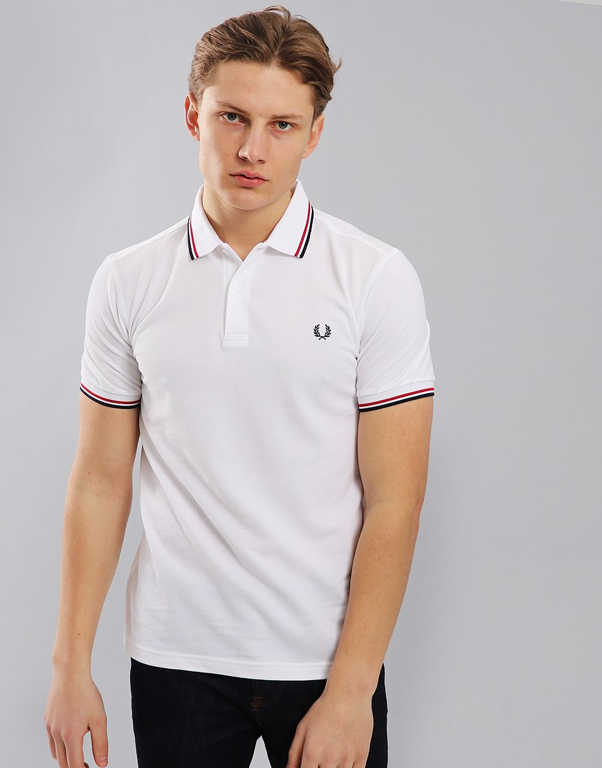 6296ed92247f89 Fred Perry Twin Tipped Polo Shirt White/Red/Navy - Terraces Menswear