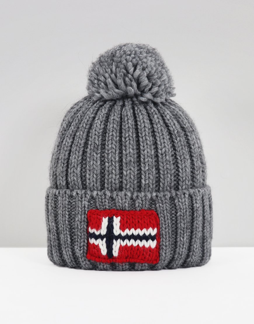 Napapijri Semiury Bobble Hat Medium Grey Melange