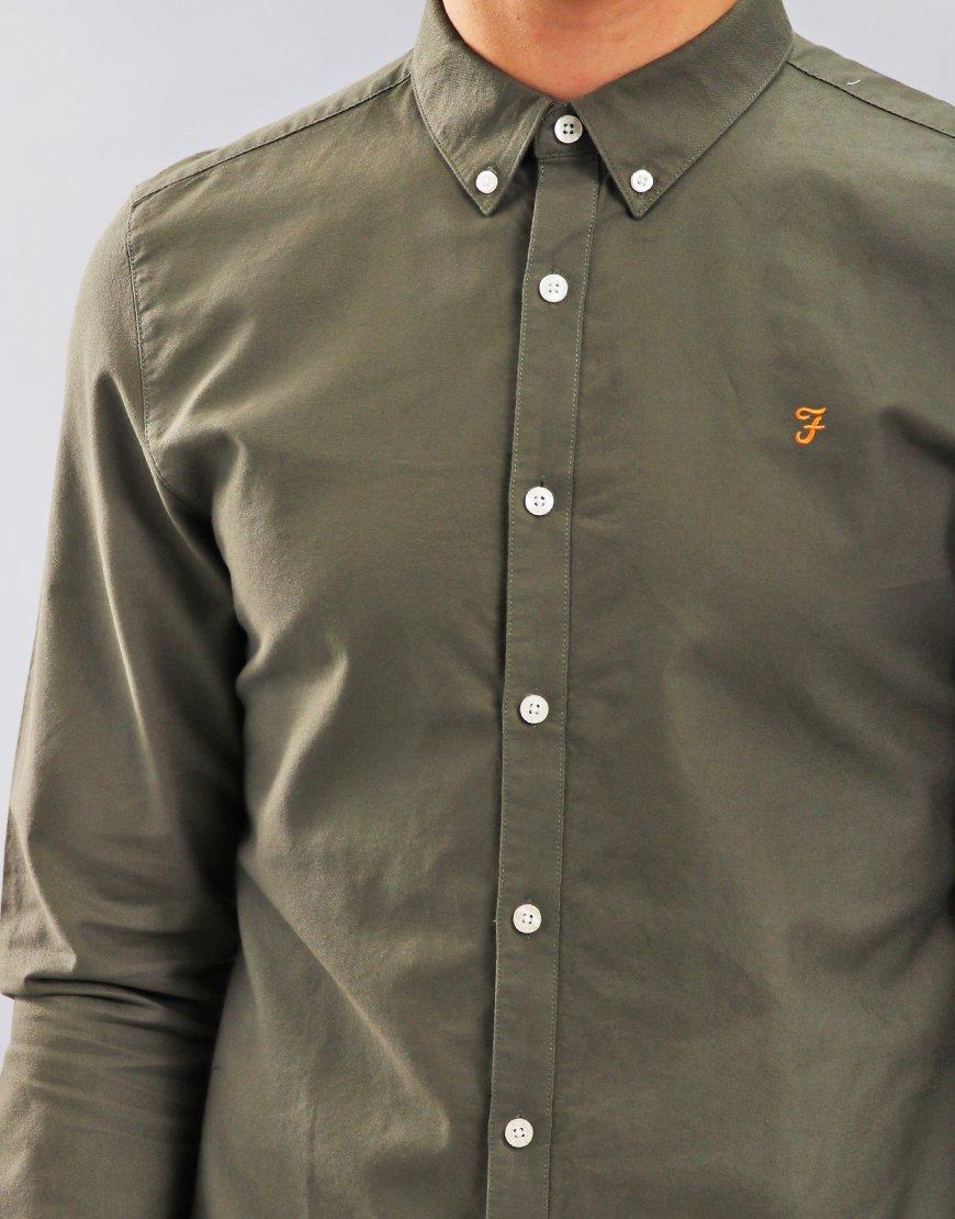 Farah Brewer Long Sleeve Shirt Military Green