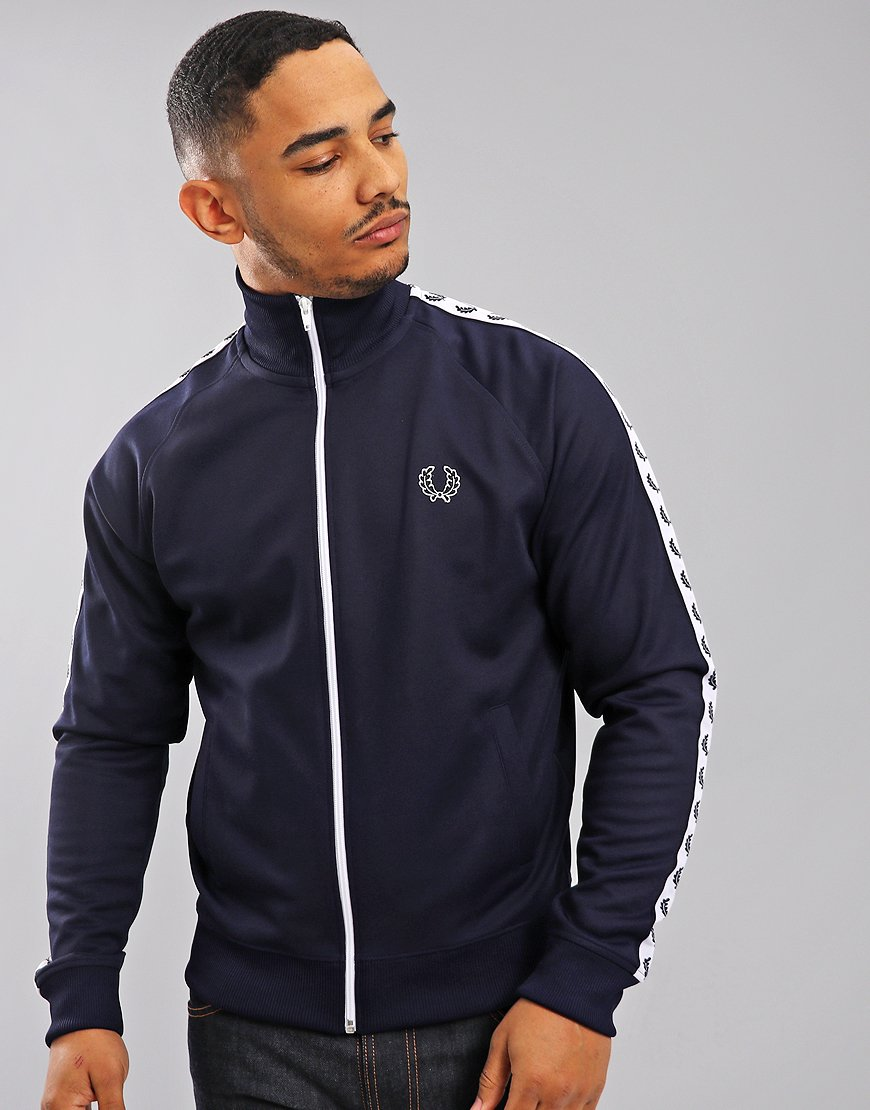 Fred Perry Laurel Wreath Tape Track Jacket  Carbon Blue