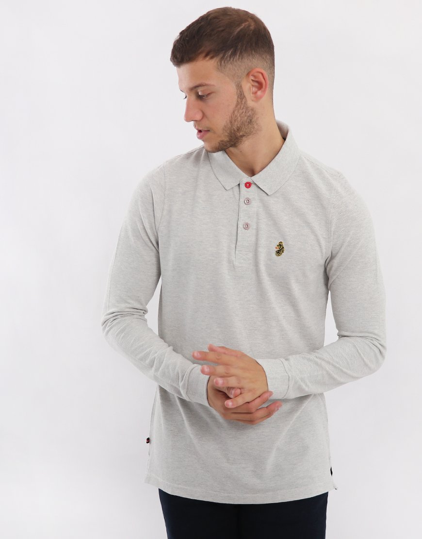 Luke 1977 Williams Long Sleeve Polo Shirt Light Grey