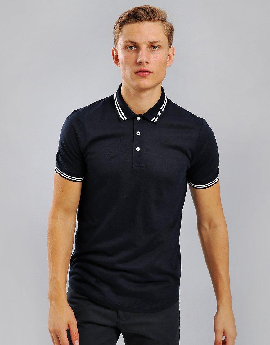 Emporio Armani Tipped Logo Collar Polo Shirt Navy Blue