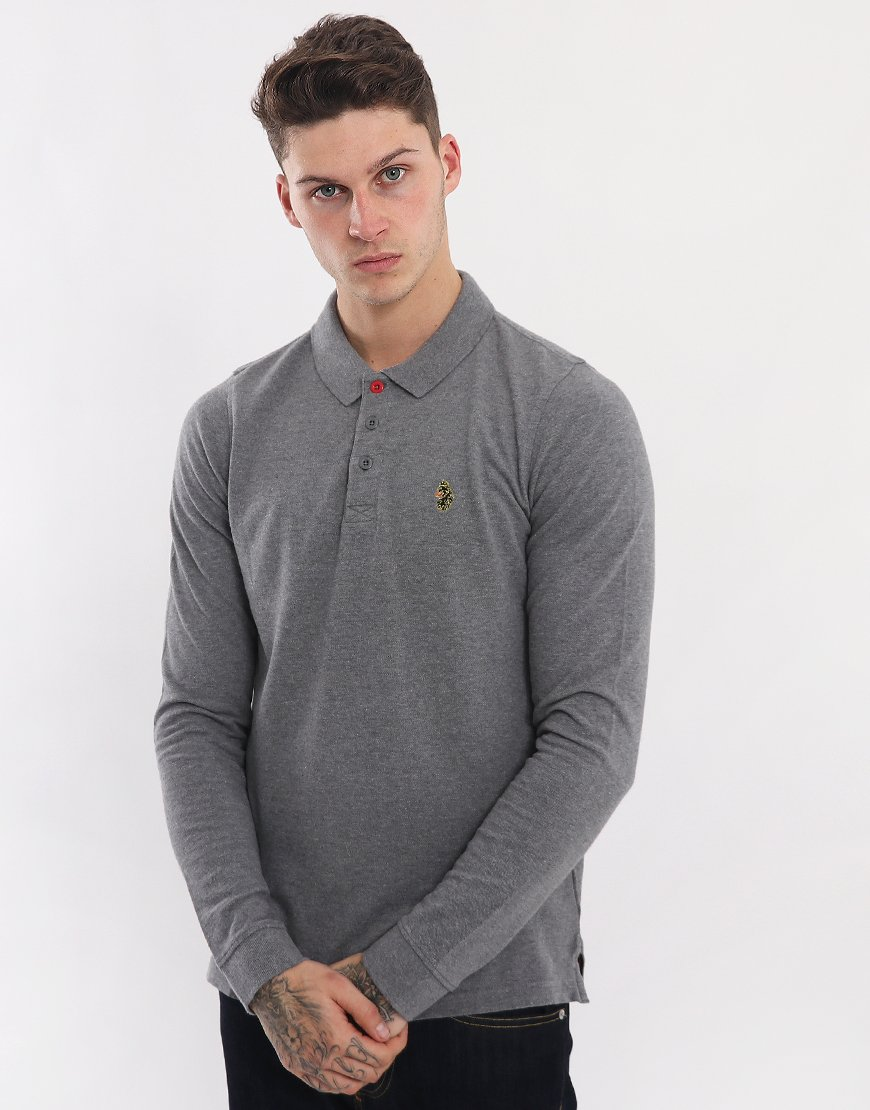 Luke 1977 Williams Long Sleeve Polo Shirt  Marle Grey