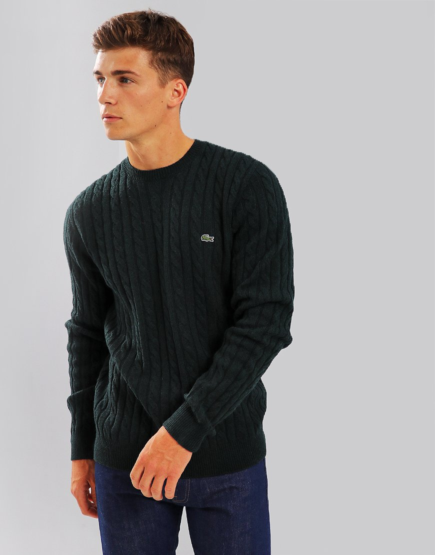Lacoste Wool Cable Knit Pin Mouline