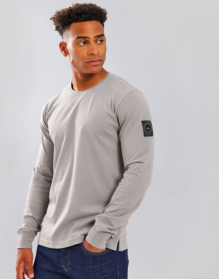 Marshall Artist Long Sleeve Garment Dyed T-Shirt Light Grey
