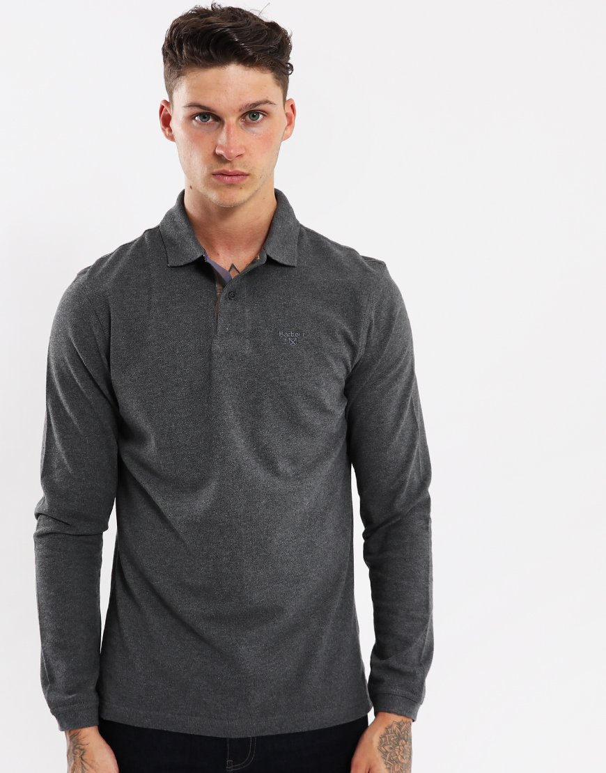 Barbour Long Sleeved Sports Polo Shirt  Slate
