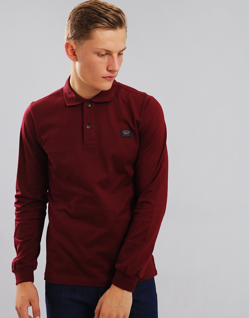 Paul & Shark Long Sleeve Polo Dark Wine