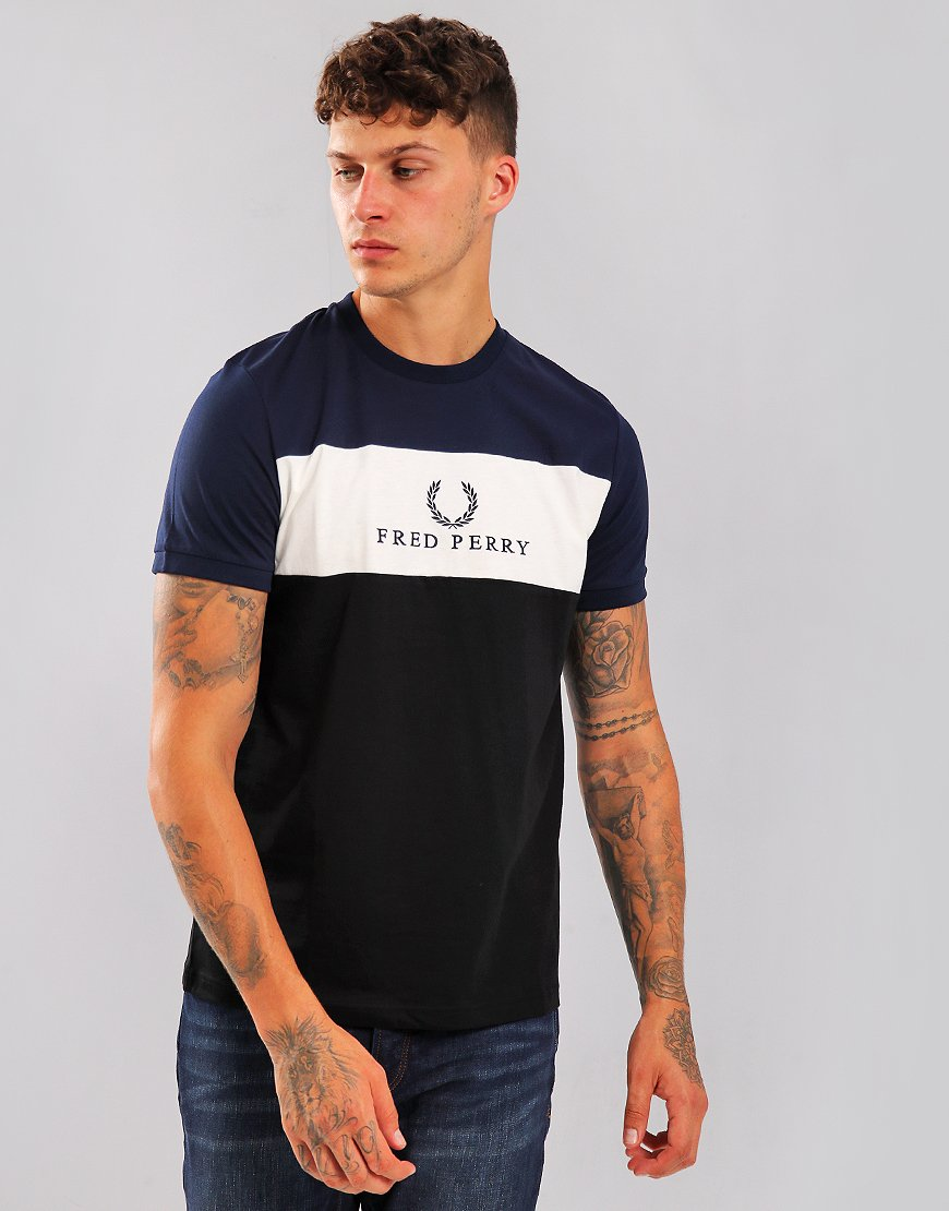 Fred Perry Embroidered Panel T-Shirt Carbon Blue
