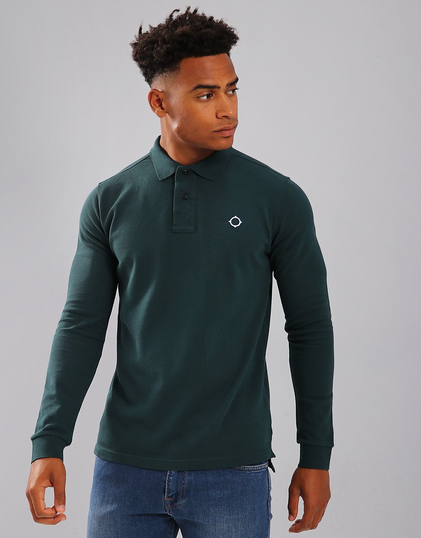 MA.Strum Long Sleeve Polo Shirt Petrol