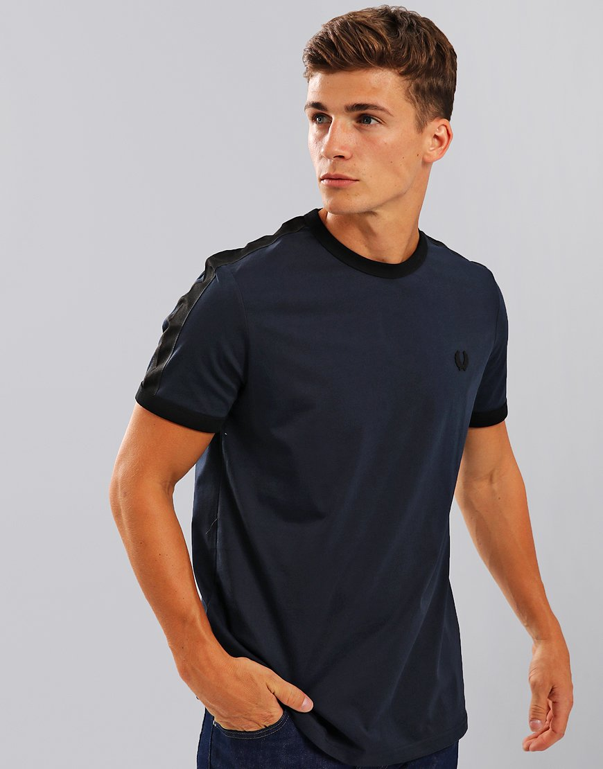 Fred Perry Tonal Taped Ringer T-Shirt Washed Navy