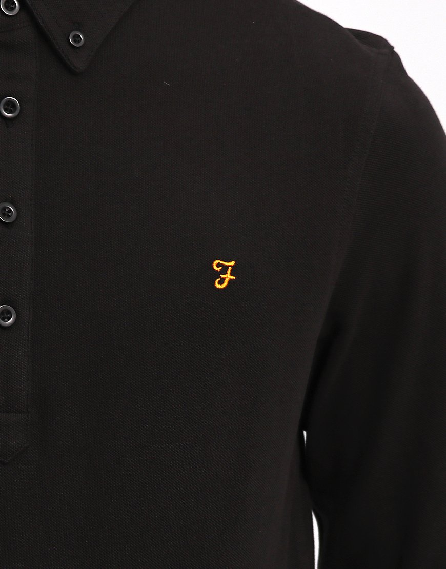 Farah Merriweather Long Sleeved Polo Shirt Black - Terraces Menswear 9ed210cdcf68