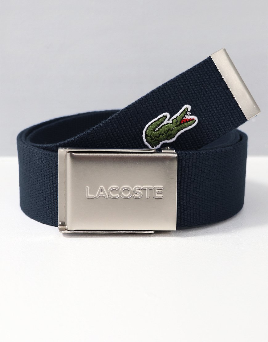 Lacoste Engraved Buckle Woven Belt Navy