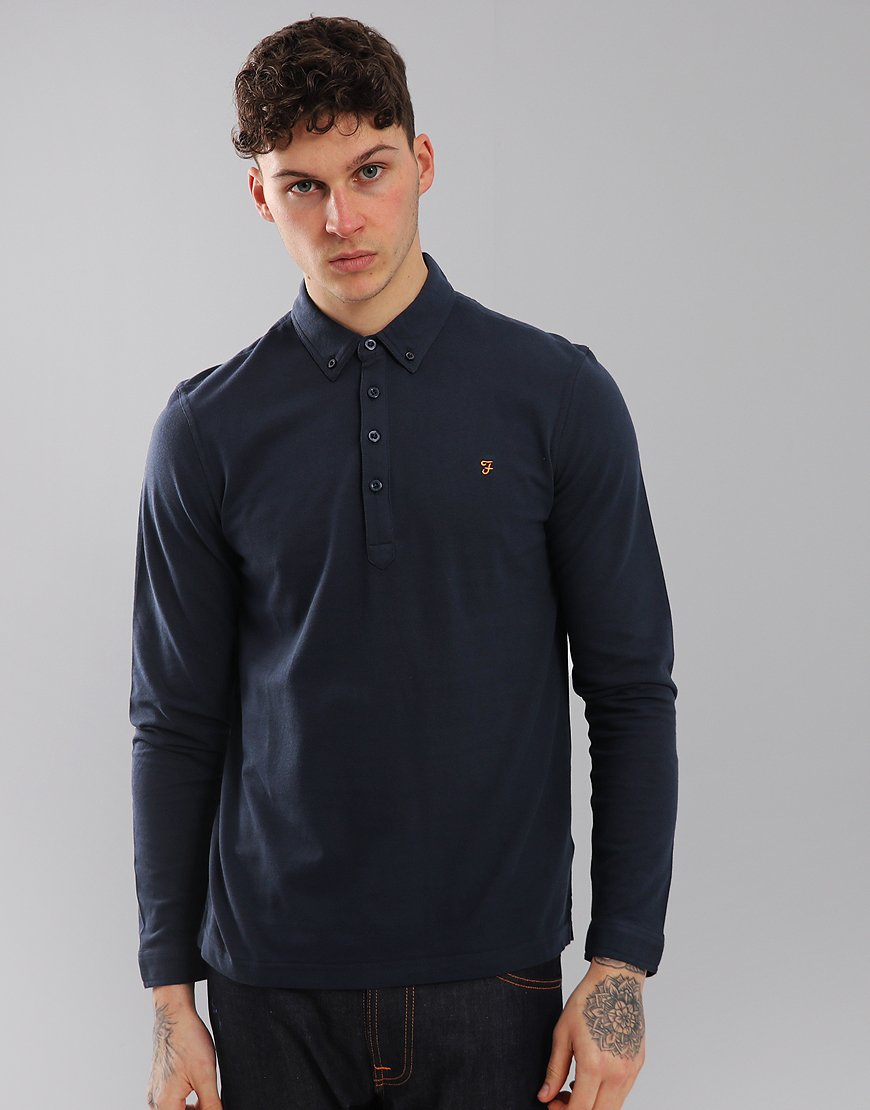 Farah Merriweather Long Sleeved Polo Shirt New Navy