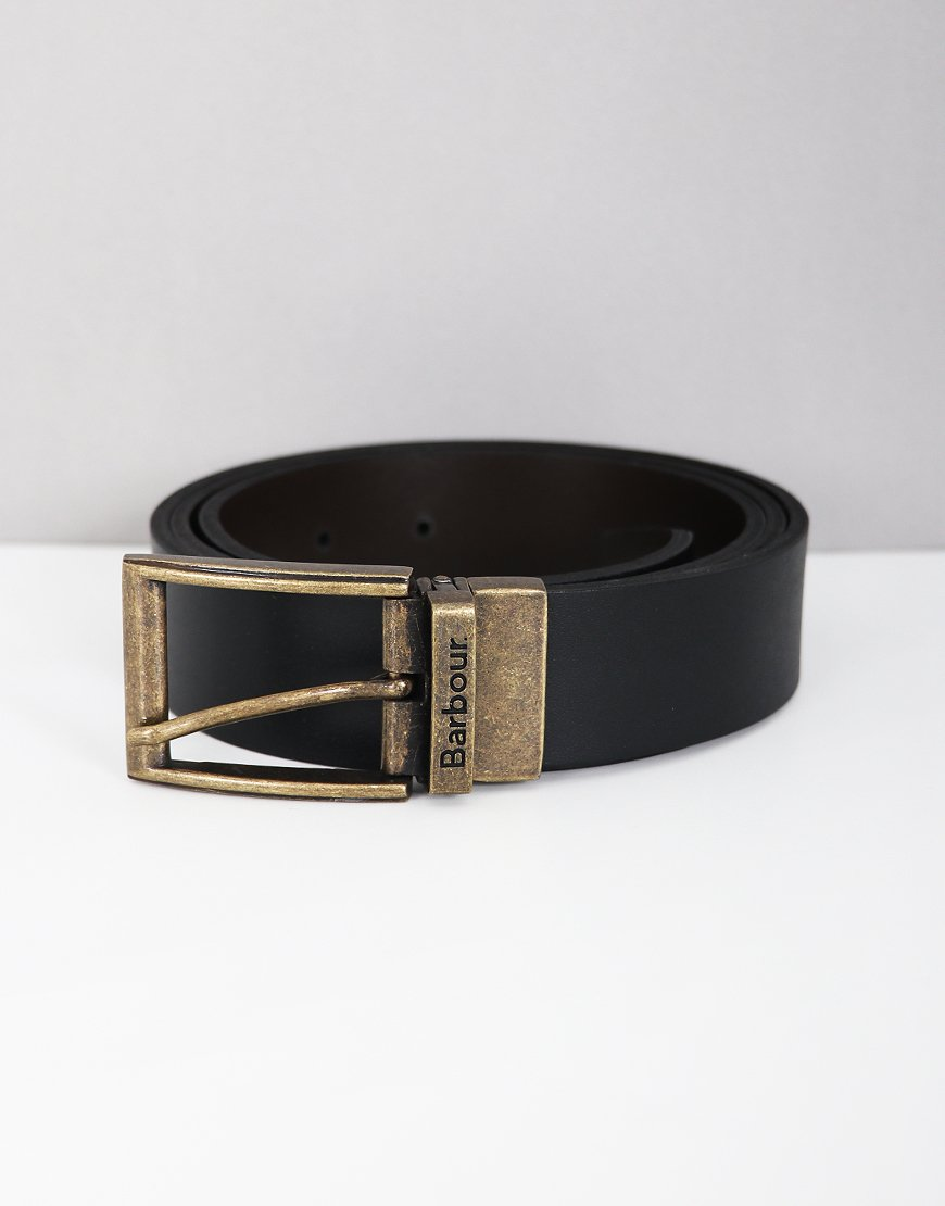 Barbour Reversible Leather Belt in Gift Box Black