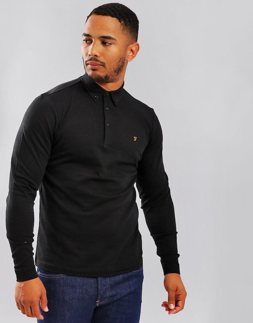 Farah Stapleton Long Sleeve Polo Shirt Black