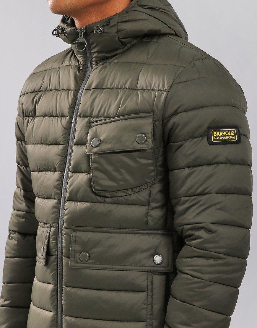 Barbour International Ouston Hooded Quilt Jacket Olive