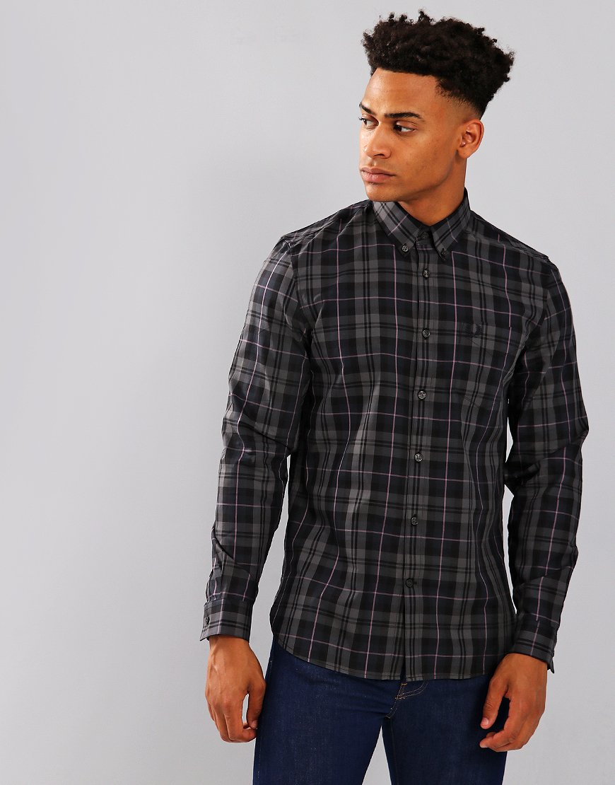 Fred Perry Contrast Stripe Tartan Shirt Black