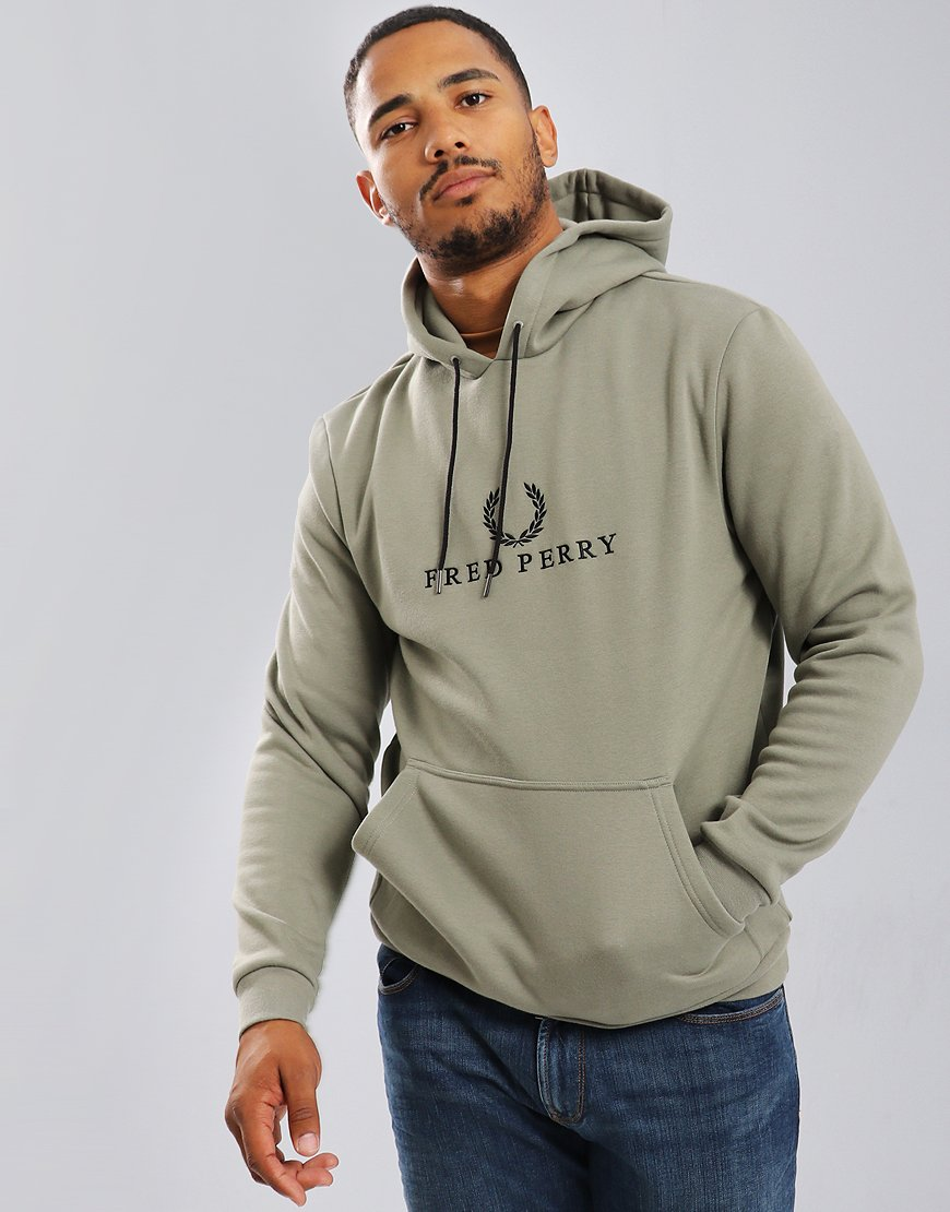 Fred Perry Embroidered Hoodie Washed Khaki