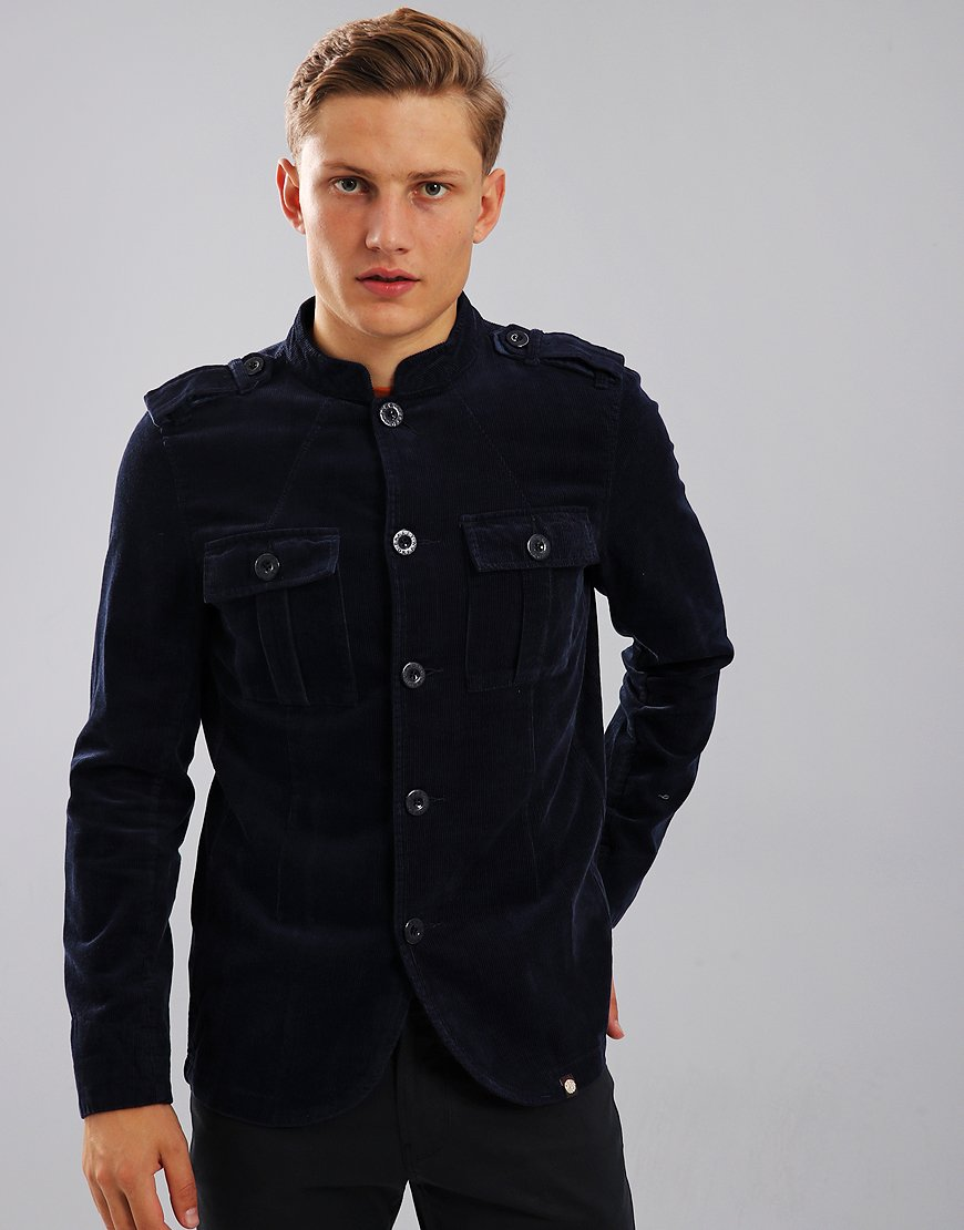 Pretty Green Crawley Military Corduroy Jacket Navy