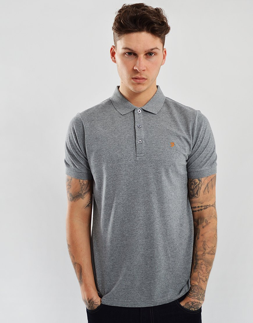 Farah Short Sleeved Blaney Polo Shirt Gravel Marl