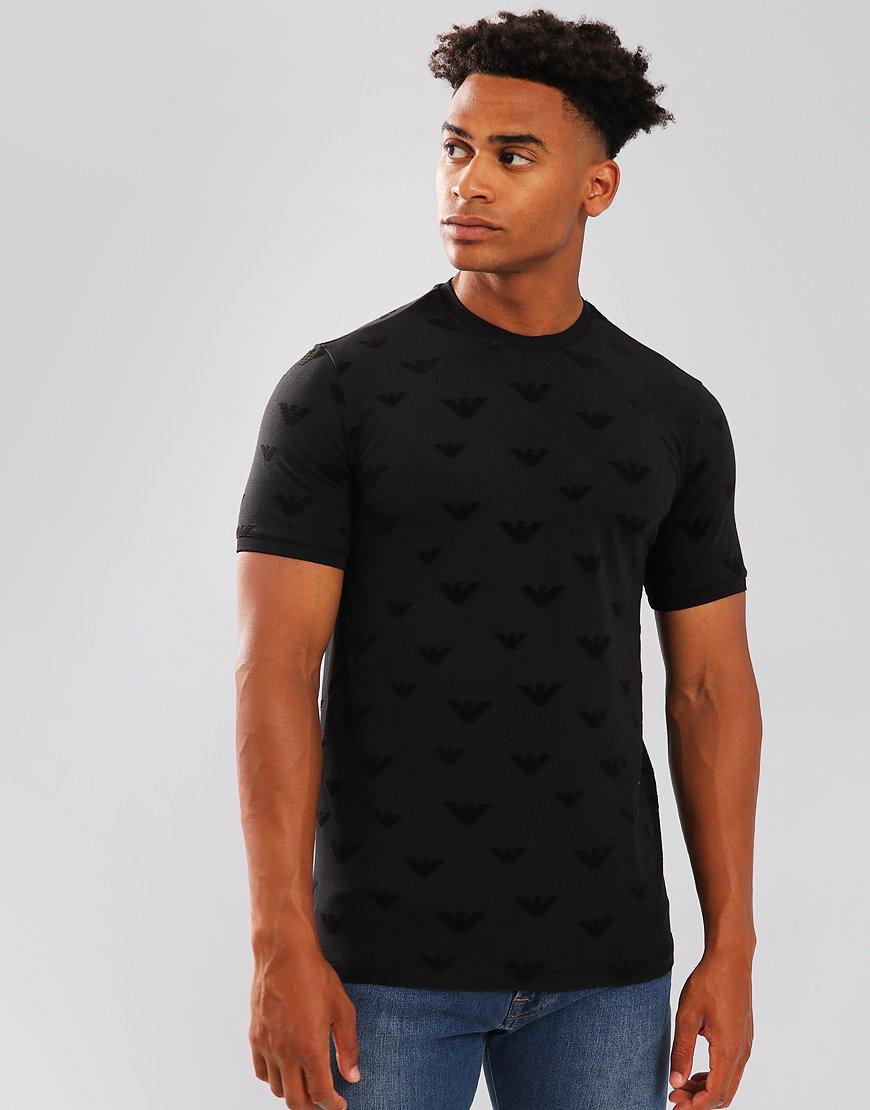 Emporio Armani AOP Velvet Logo T-Shirt Black