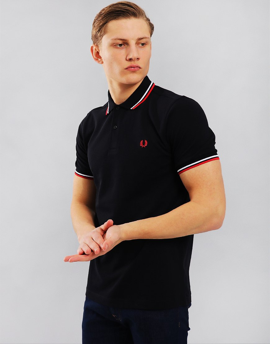 Fred Perry Twin Tipped Polo Shirt   Navy/White