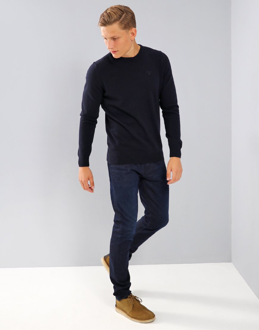 Barbour Essential Lambswool Crew Neck Knit Navy