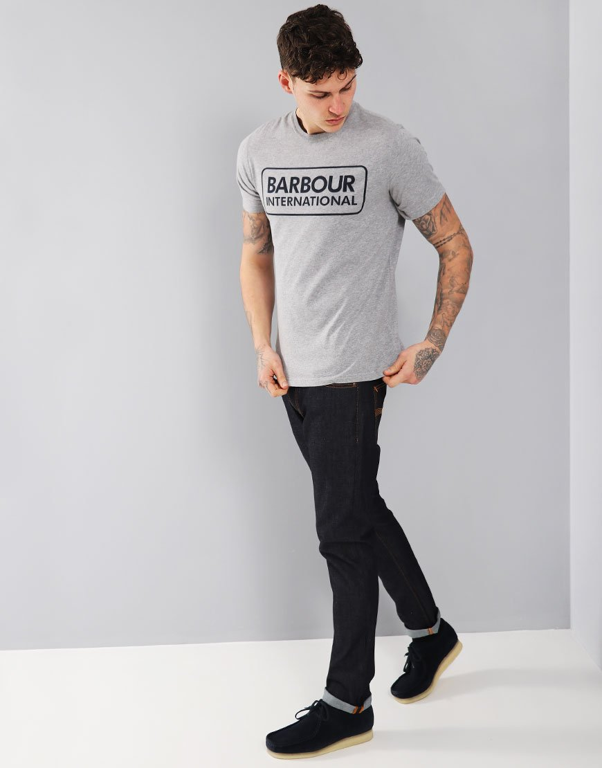 Barbour International Essential Large Logo T-Shirt Grey Marl