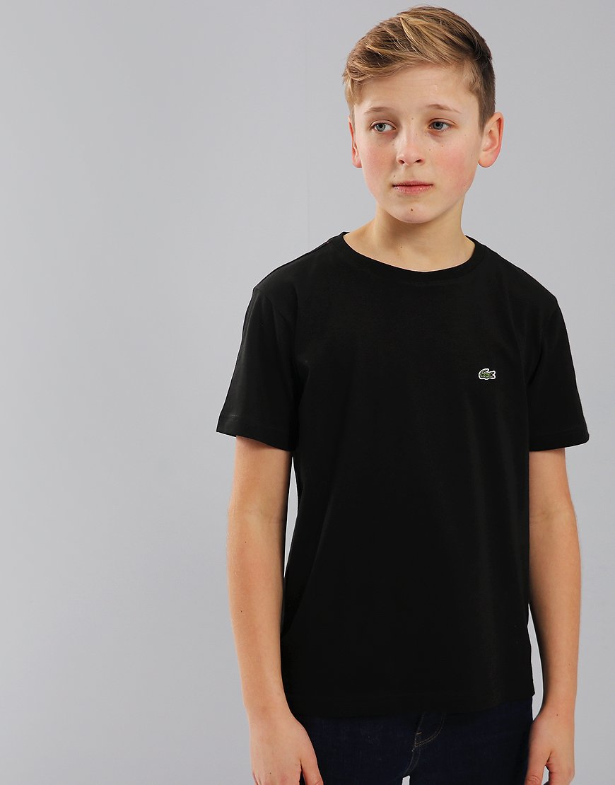 Lacoste Kids Crew Neck T-Shirt With Chest Logo In Black