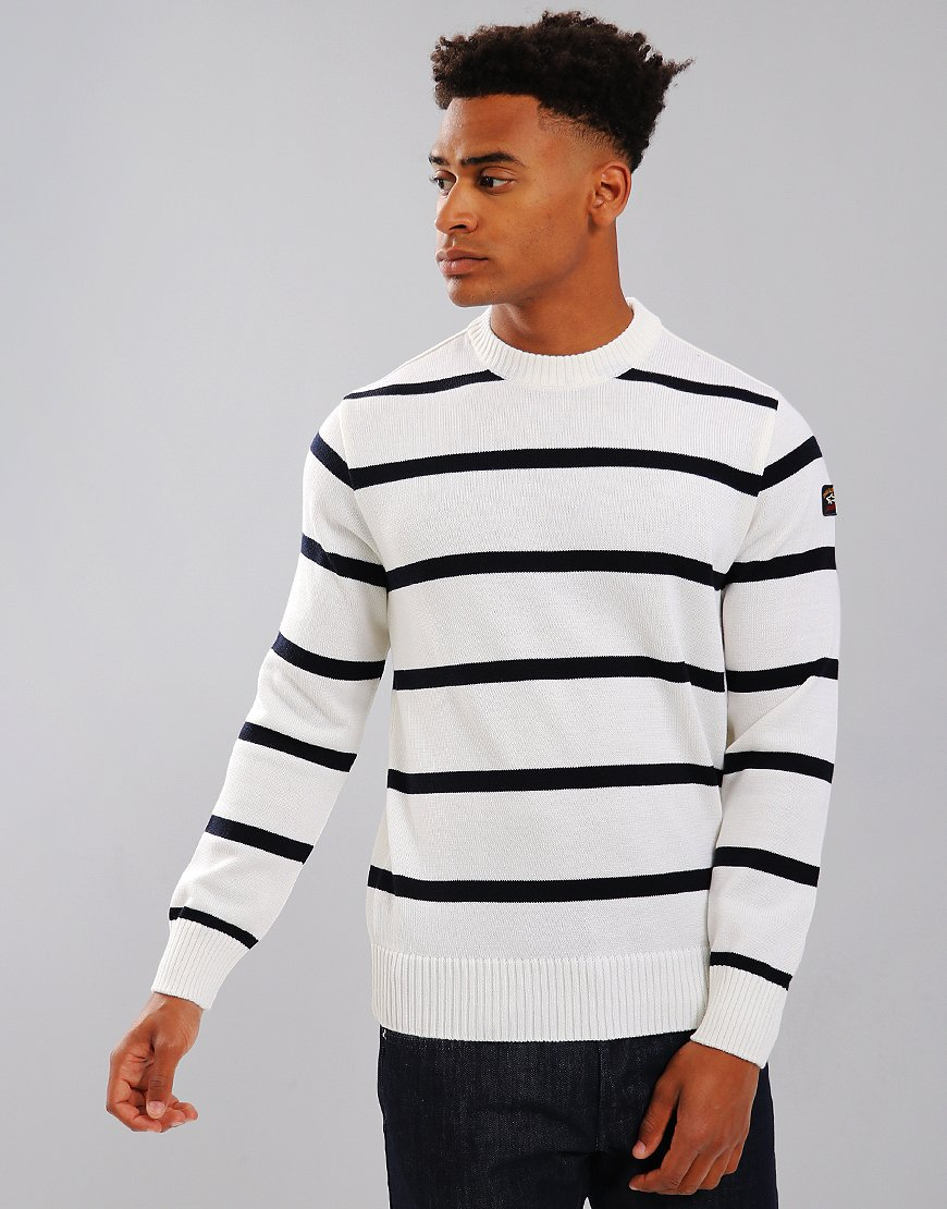 Paul & Shark Breton Crew Neck Jumper Cream/Blue
