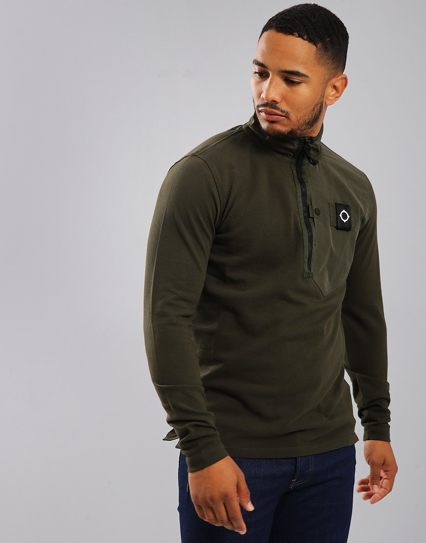 MA.Strum Pique Quarter Zip Sweat Dark Khaki