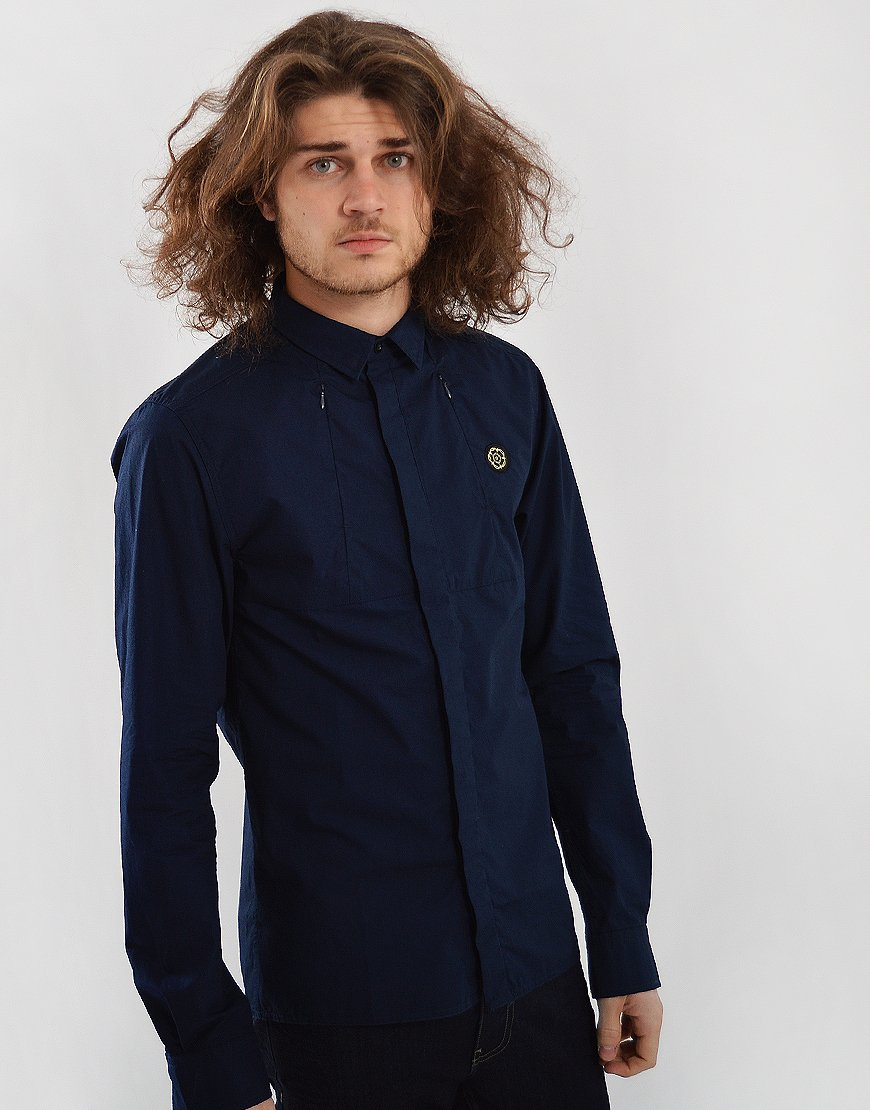 Nicholas Deakins Army Tech Long Sleeved Shirt Midnight
