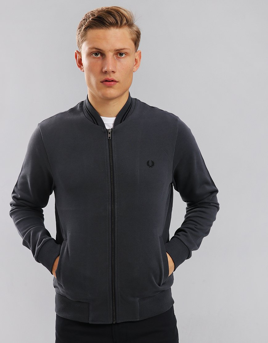 Fred Perry Zip Through Bomber Sweat Charcoal