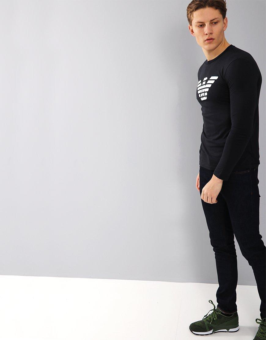 904d00042155 Emporio Armani Long Sleeved Eagle T-Shirt Dark Blue - Terraces Menswear