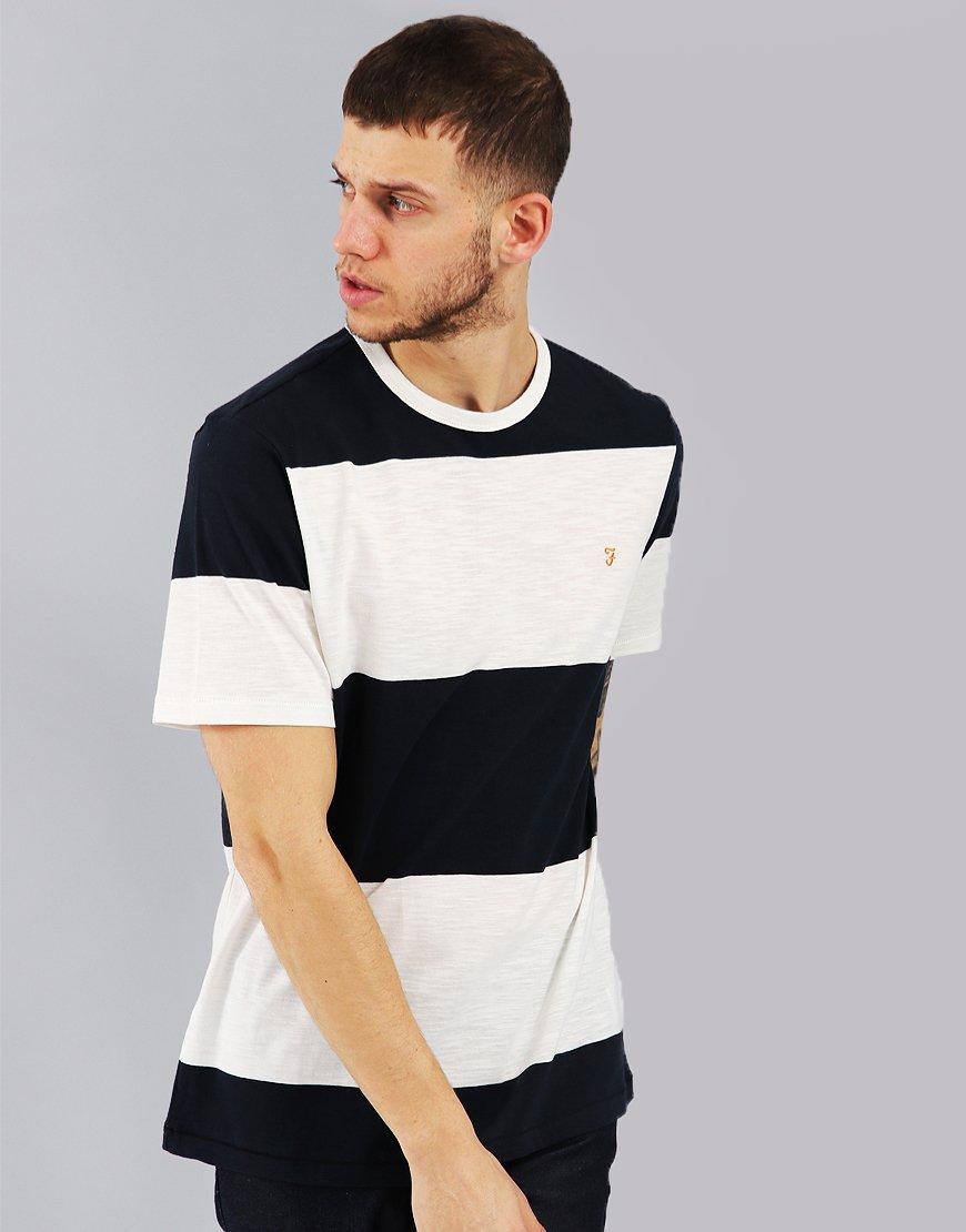 Farah Woolacombe Striped T-Shirt Navy