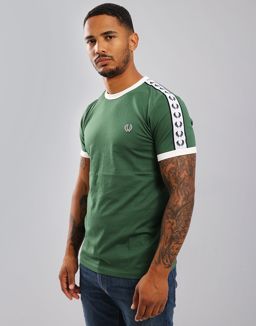 Fred Perry Taped Ringer T-Shirt Tartan Green