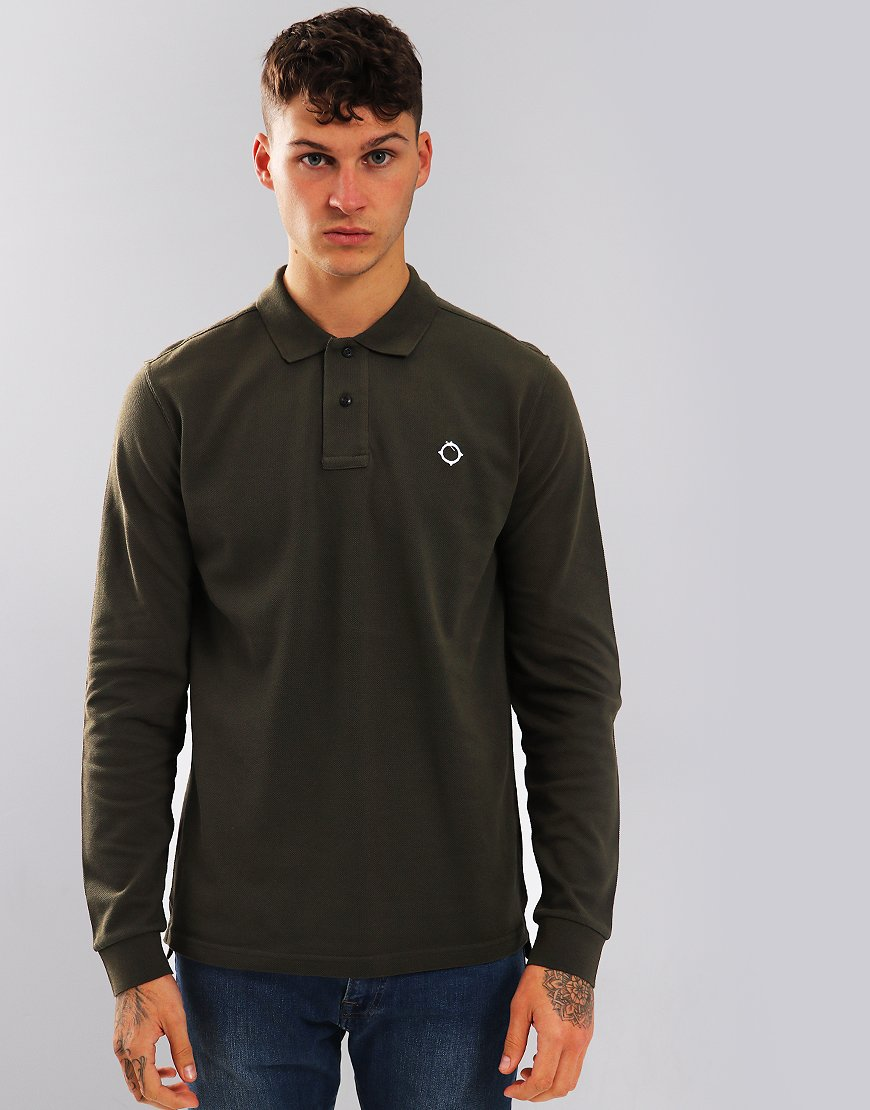MA.Strum Long Sleeve Polo Shirt Khaki