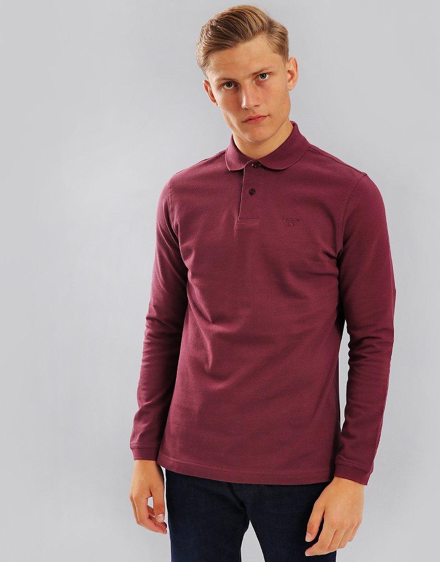Barbour Sports Long Sleeve Polo Shirt Merlot