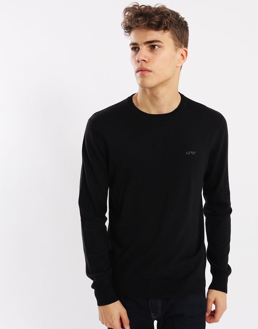 Armani Jeans Cotton/Wool Crew Knit Black