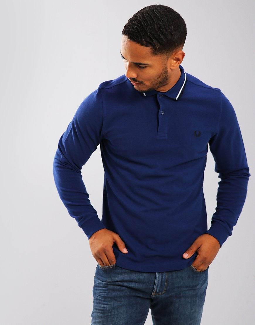 Fred Perry Twin Tipped Long Sleeved Polo Shirt Medieval Blue
