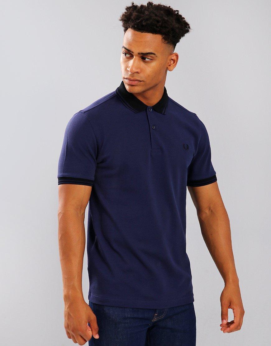Fred Perry Contrast Rib Piqué Polo Shirt Victoria Blue
