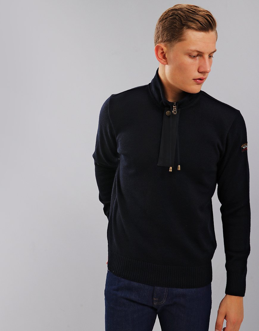 Paul & Shark Concealed Zip Neck Jumper Blue