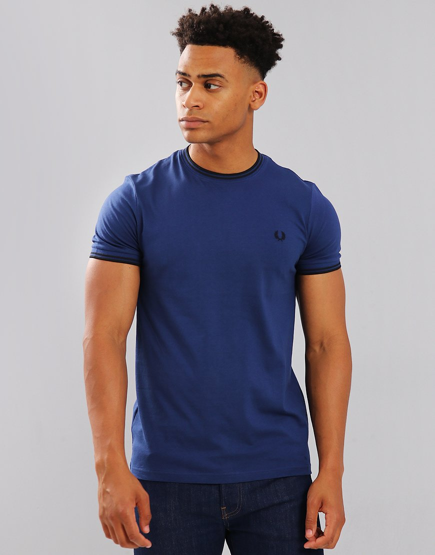 Fred Perry Tipped T-Shirt Medieval Blue