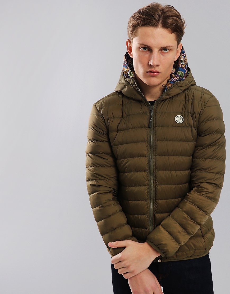 Pretty Green Barker Lightweight Down Jacket Khaki