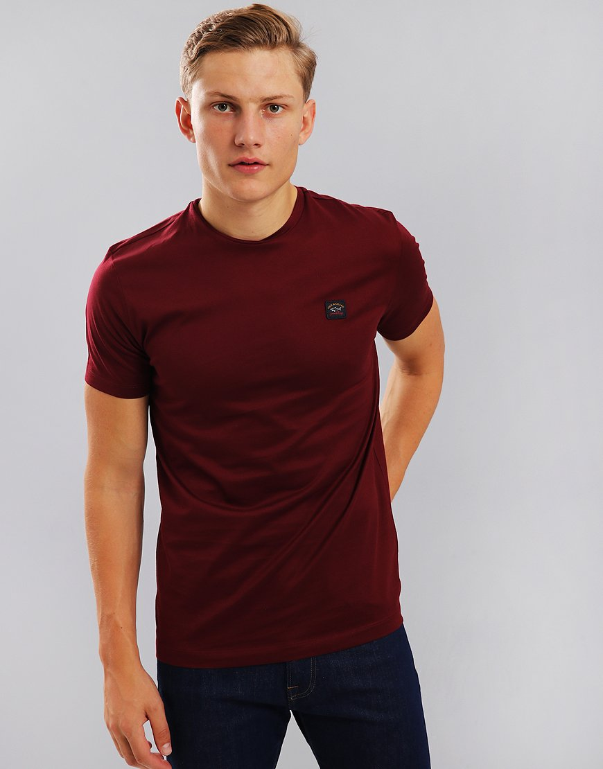 Paul & Shark Logo Patch Crew Neck T-Shirt Bordeaux